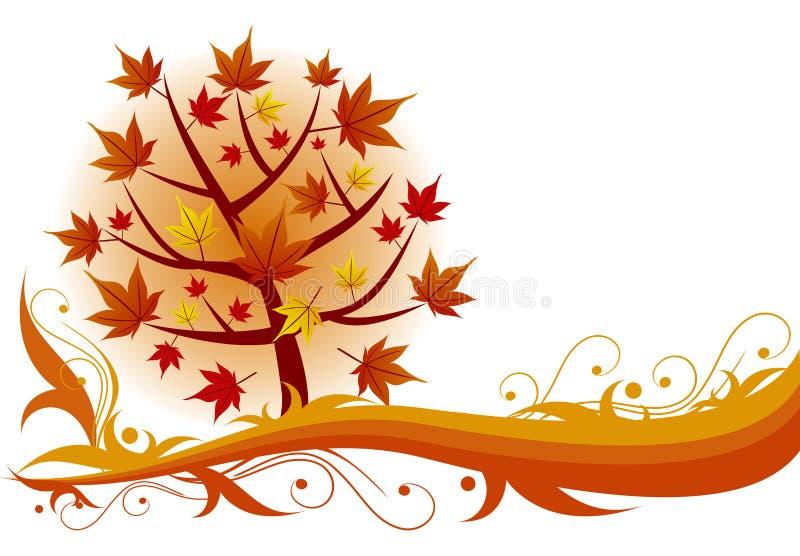 Herbstahornholzbaumhintergrund stock abbildung