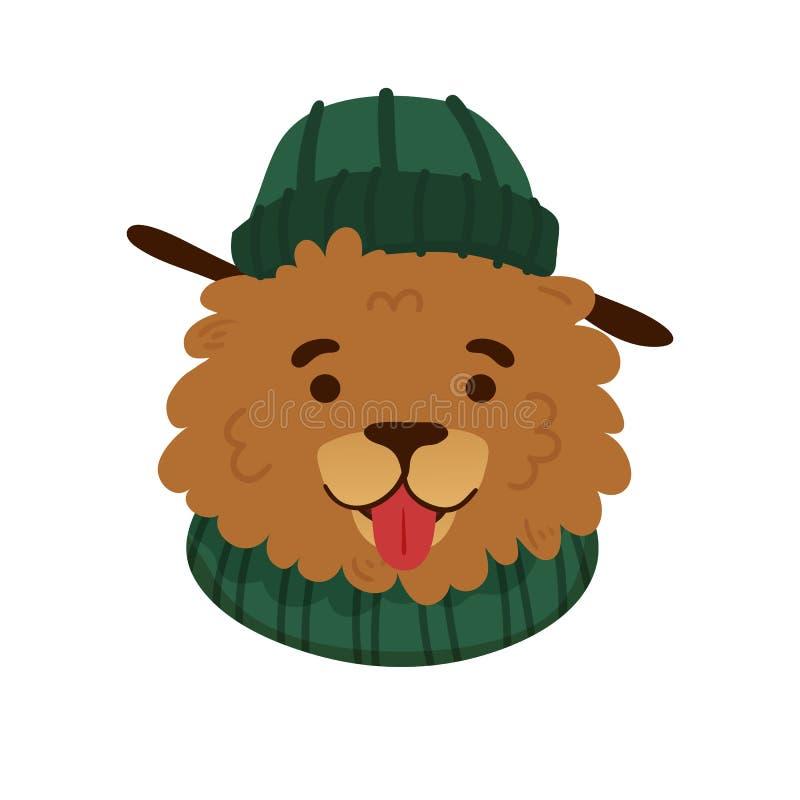 Herbstavataraentwurf mit einem netten Karikaturhund mit gr?nem Hut und warmem Schal Herbstdruck mit einem lustigen Charakterwelpe lizenzfreie abbildung