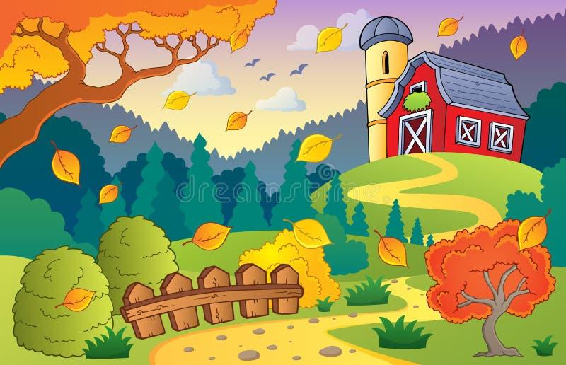 Herbstbauernhoflandschaft 1 vektor abbildung