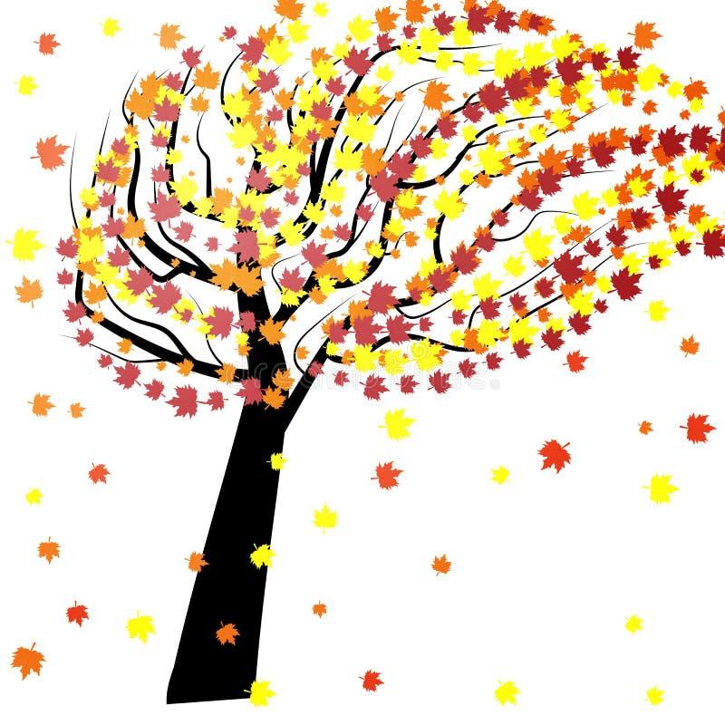 Herbstbaum im Wind lizenzfreie abbildung