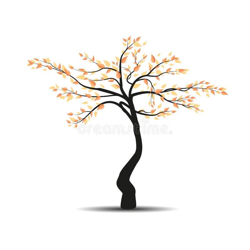 Herbstbaum mit fallenden Blättern lizenzfreie abbildung