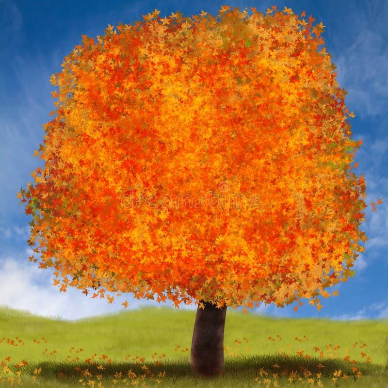 Herbstbaumillustration mit hellen Farben im orange Rot und im Gelb lizenzfreie abbildung