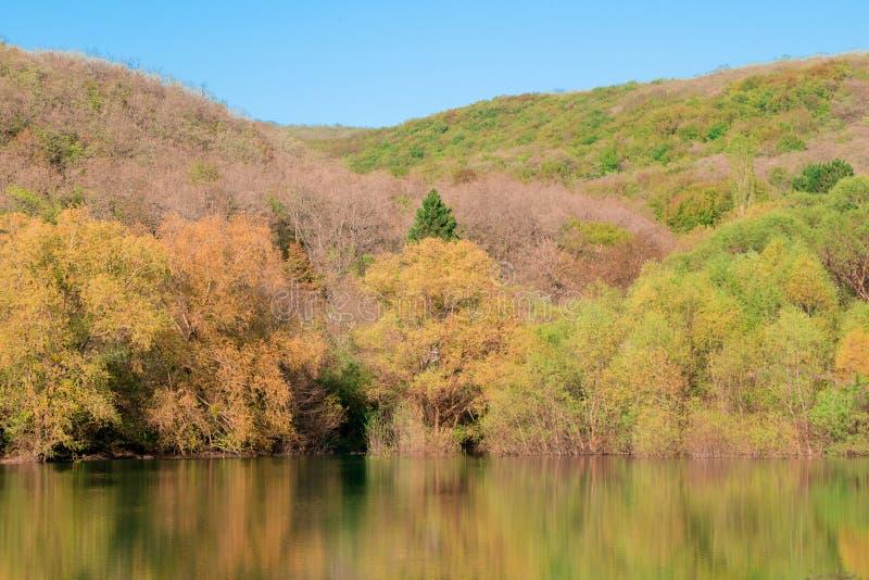 Herbstbeschaffenheit der Krim ist ein schönes Mountainsee im Herbst Slowakei lizenzfreie stockfotos