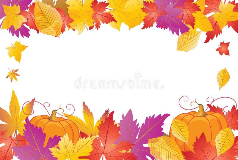 Herbstblätter und Kürbisfeld vektor abbildung