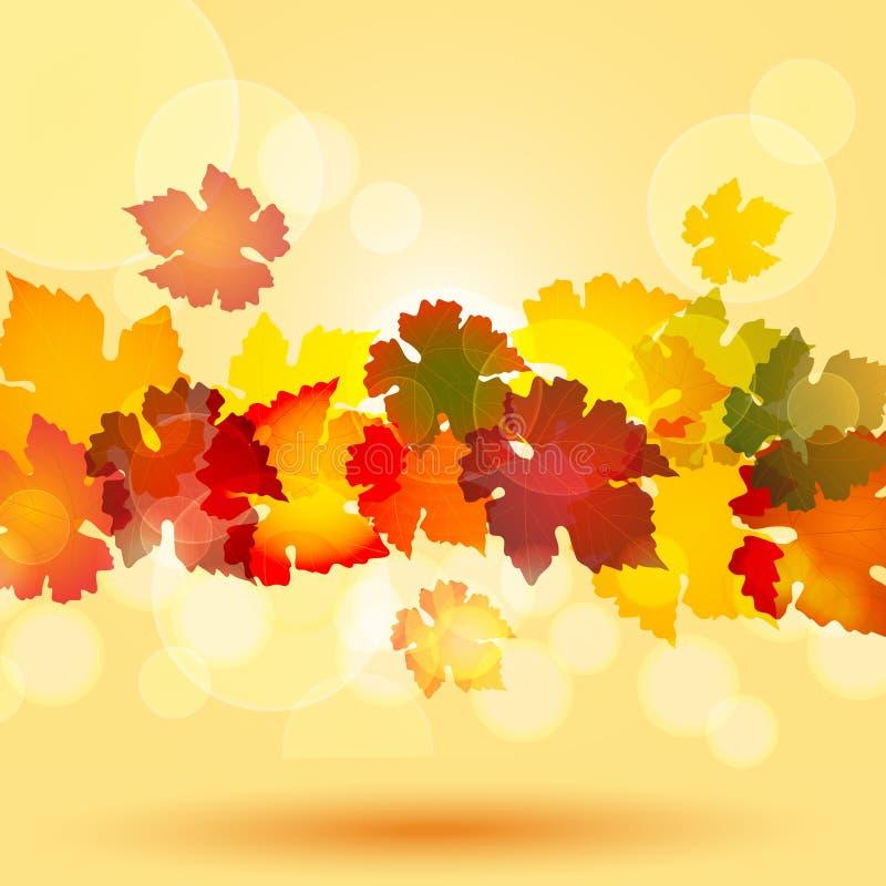 Herbstblattrand und glühende Kreise lizenzfreie abbildung