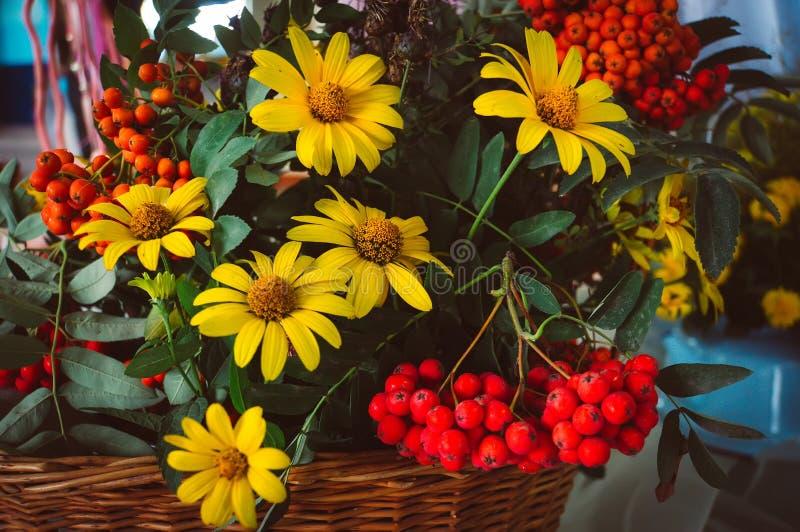 blumenstrauss trocknen download herbstblumenstraua mit asterblumen und blatter stockfoto bild 98629852