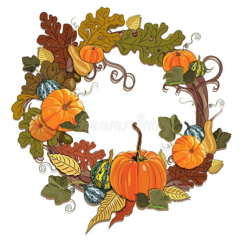 Herbstdesign - magischer Garten Ein Kranz von Reben mit Kürbisen stock abbildung