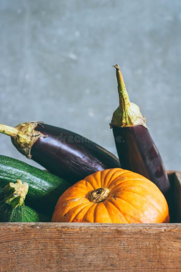 Herbsternte in einer Holzkiste lizenzfreies stockbild