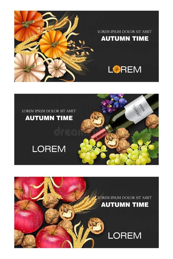 Herbsternte Fahnen eingestellter Vektor realistisch Kürbis, Mais, Trauben, Wein, Walnüsse Ausführliches Design 3d Dunkle Hintergr lizenzfreie abbildung