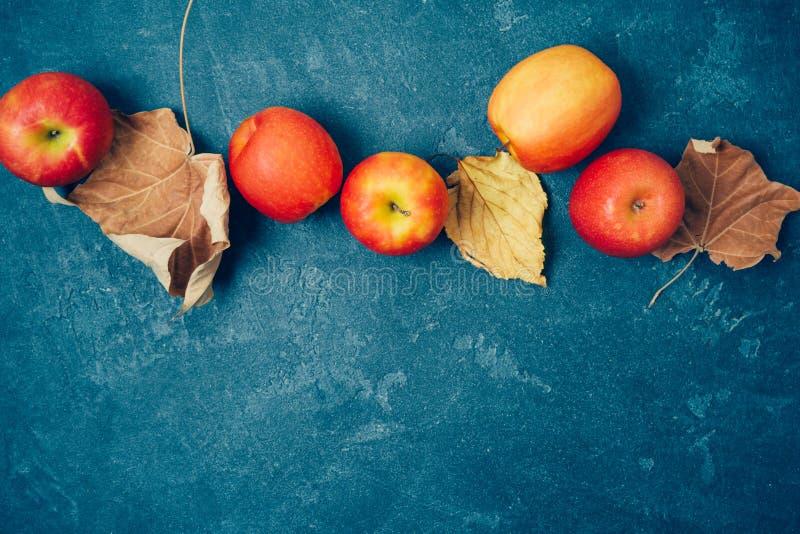Herbsterntehintergrund mit roten Äpfeln und Fallblättern über Tafel lizenzfreie stockfotos