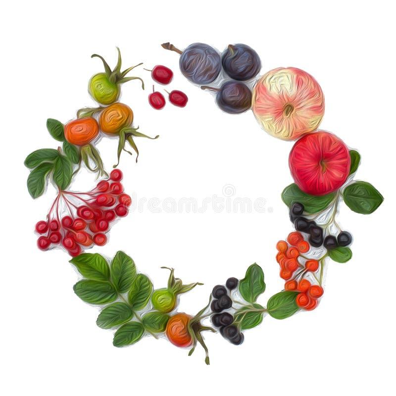 Herbsternten Zusammensetzung von Früchten, Beeren auf einem weißen Hintergrund Äpfel, Viburnum, Hartriegel, Hunderose, Eberesche, stockbild