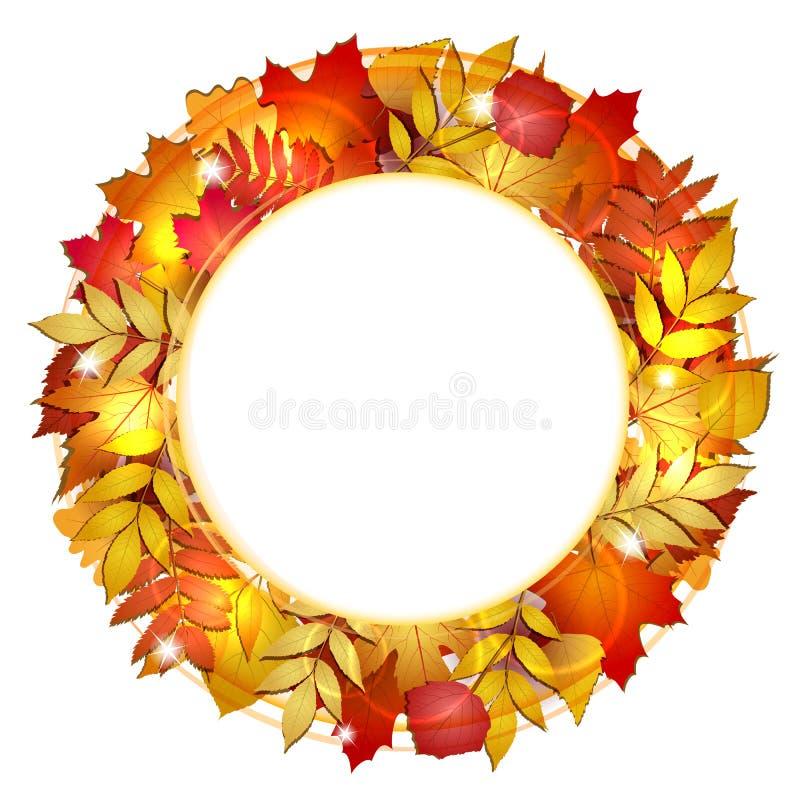 Herbstfahne mit Blättern. lizenzfreie abbildung