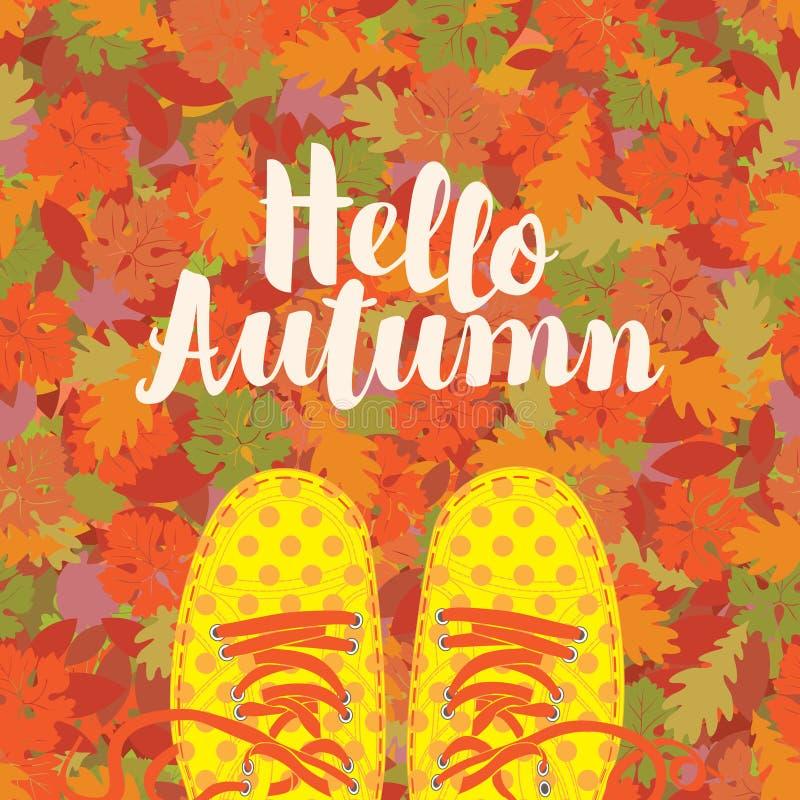 Herbstfahne mit der Aufschrift und den blauen Schuhen vektor abbildung