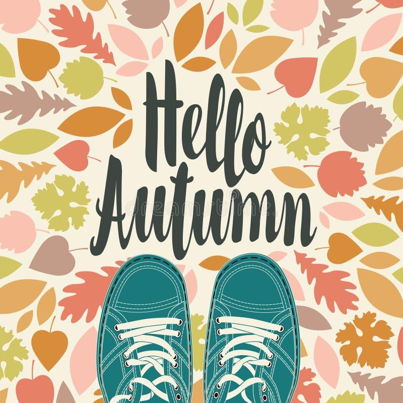 Herbstfahne mit der Aufschrift und den grünen Schuhen lizenzfreie abbildung