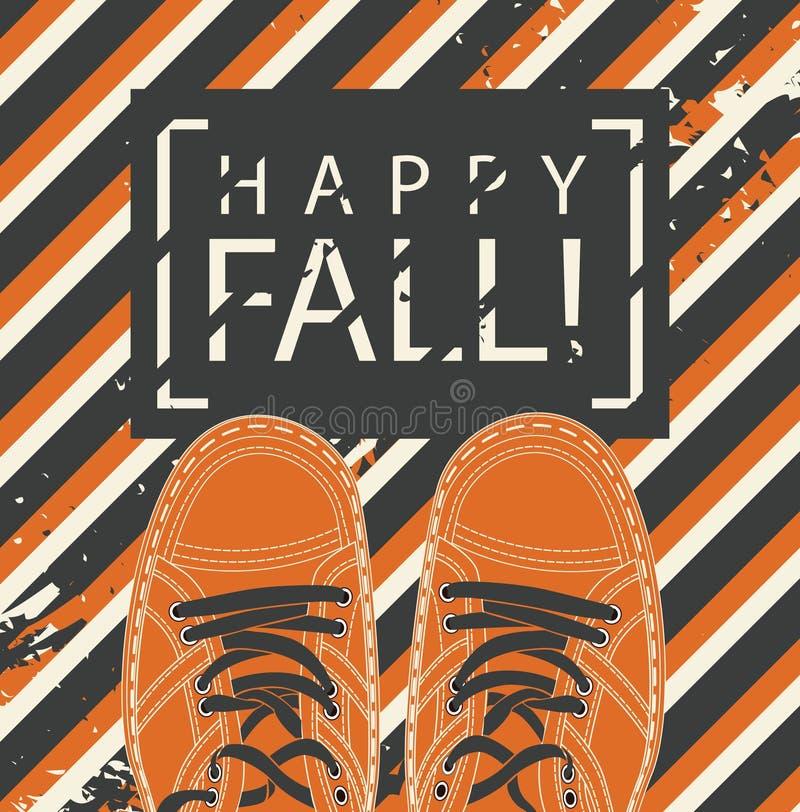 Herbstfahne mit glücklichem Fall und Schuhen der Wörter stock abbildung