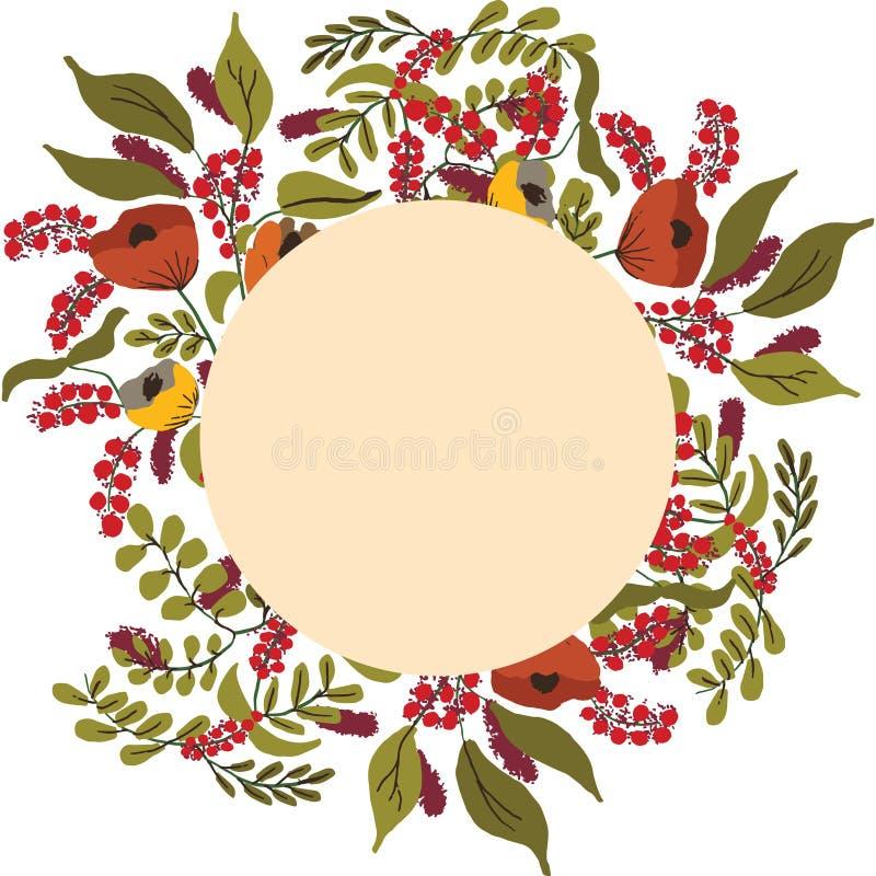 Herbstfarben Blumenrahmen mit Kopierraum stock abbildung
