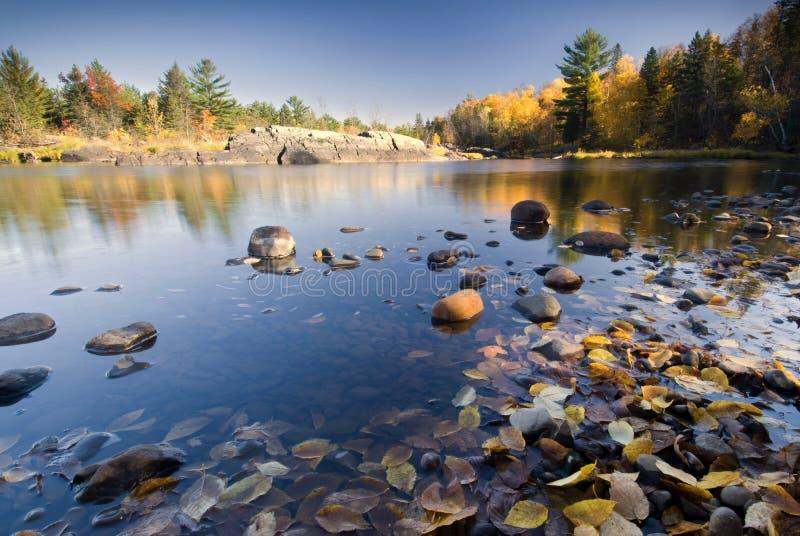 Herbstfarben reflektierten sich im See, Minnesota, USA stockfotografie