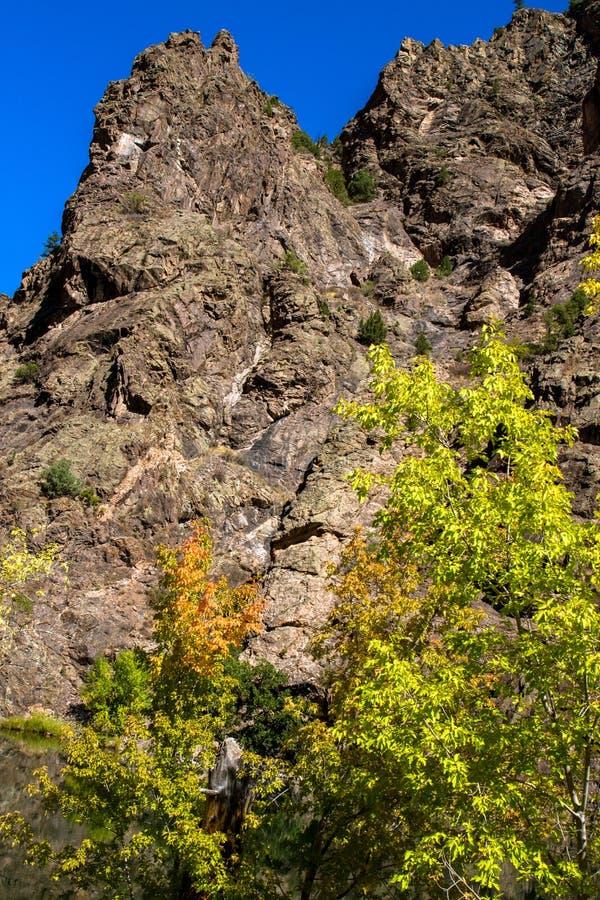 Herbstfarben, steile Klippen und blaue Himmel an der schwarzen Schlucht des Nationalparks Gunnison stockbild