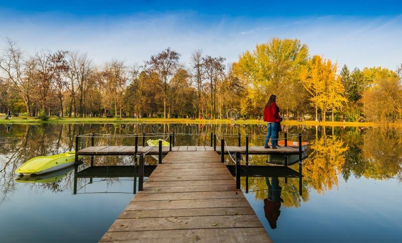Herbstfarben und -see in die Stadt parken stockfotos