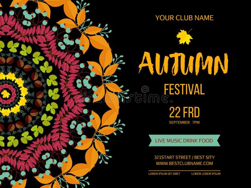 Herbstfestivalhintergrund Einladungsfahne mit Fallblättern Auch im corel abgehobenen Betrag vektor abbildung