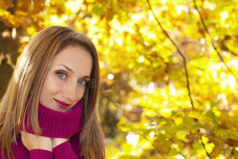 Download Herbstfrauenportrait stockbild. Bild von nahaufnahme - 27726857