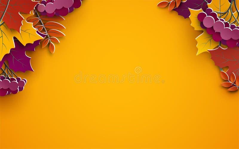 Herbsthintergrund, Baumpapierblätter, gelber Hintergrund, Design für Herbstsaisonfahne, Plakat lizenzfreie abbildung