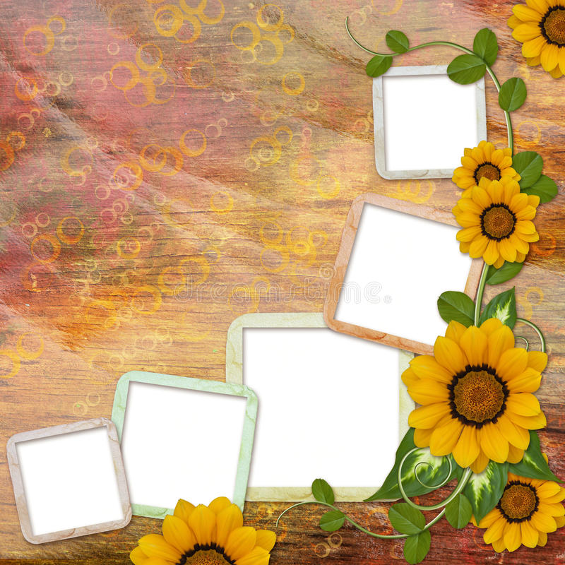 Herbsthintergrund mit Blumen stock abbildung