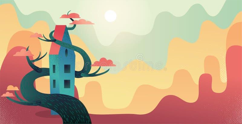 Herbsthintergrund mit dem langen Haus der Märchen entwirrt mit hölzernem rotem Kronenbaum Naturlandschaft mit einigen Reihen von  lizenzfreie abbildung