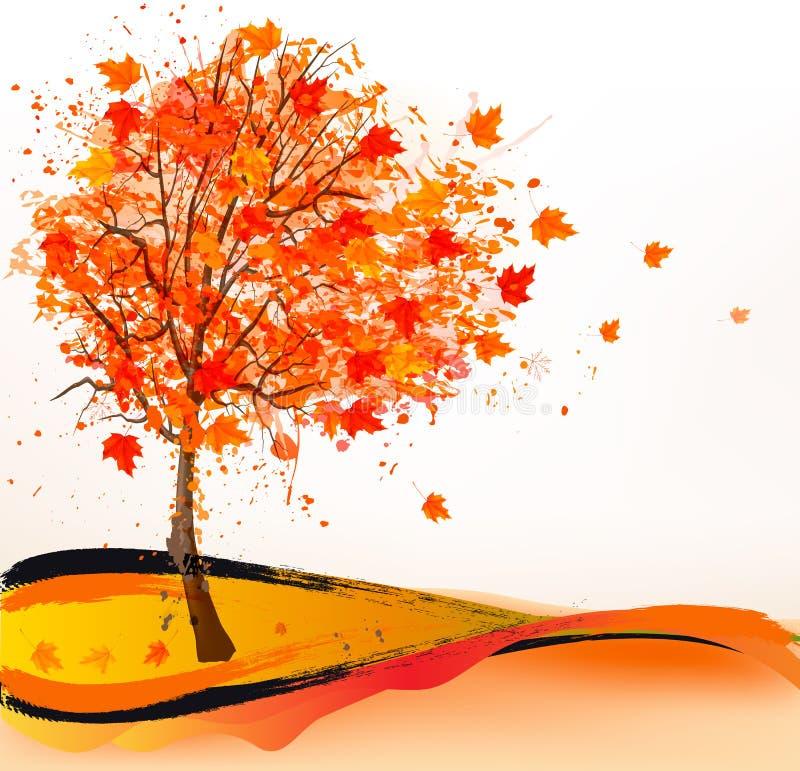 Herbsthintergrund mit einem Baum vektor abbildung