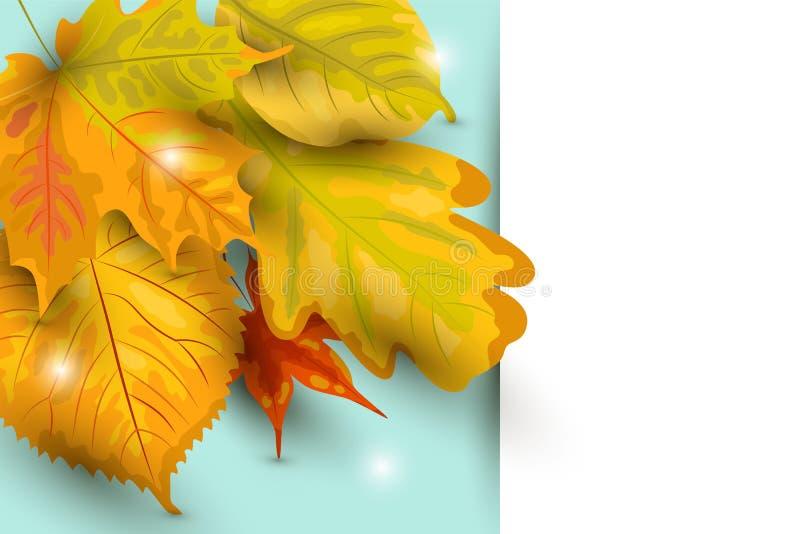 Herbsthintergrund mit fallenden Blättern, Papierblatt stock abbildung