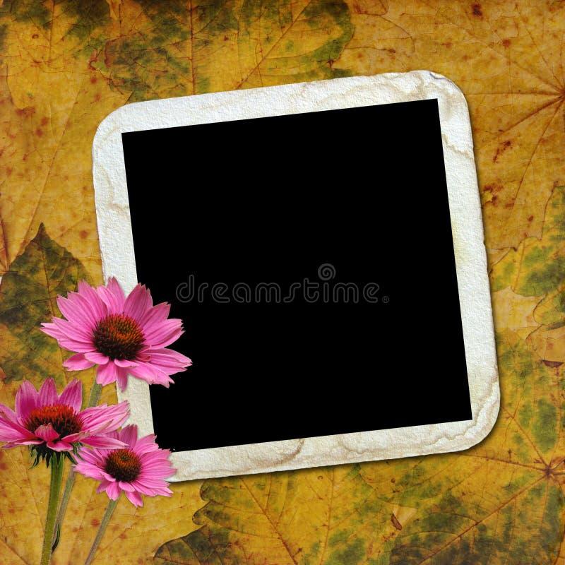 Herbsthintergrund mit Feld und Blumen lizenzfreie abbildung