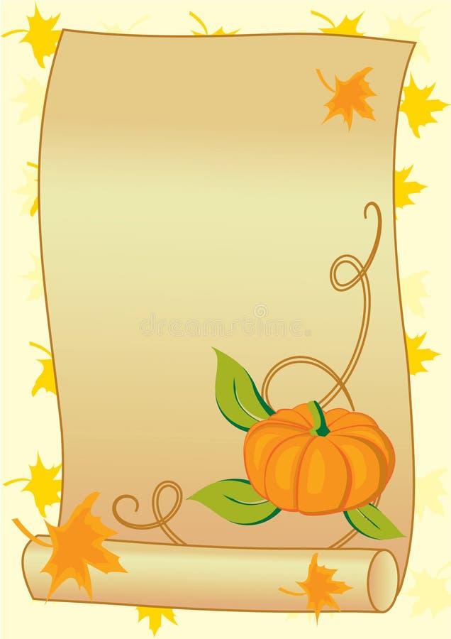 Herbsthintergrund mit Kürbis stock abbildung