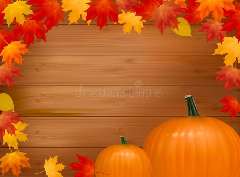 Herbsthintergrund mit Kürbisen. Mit Exemplarplatz. lizenzfreie abbildung