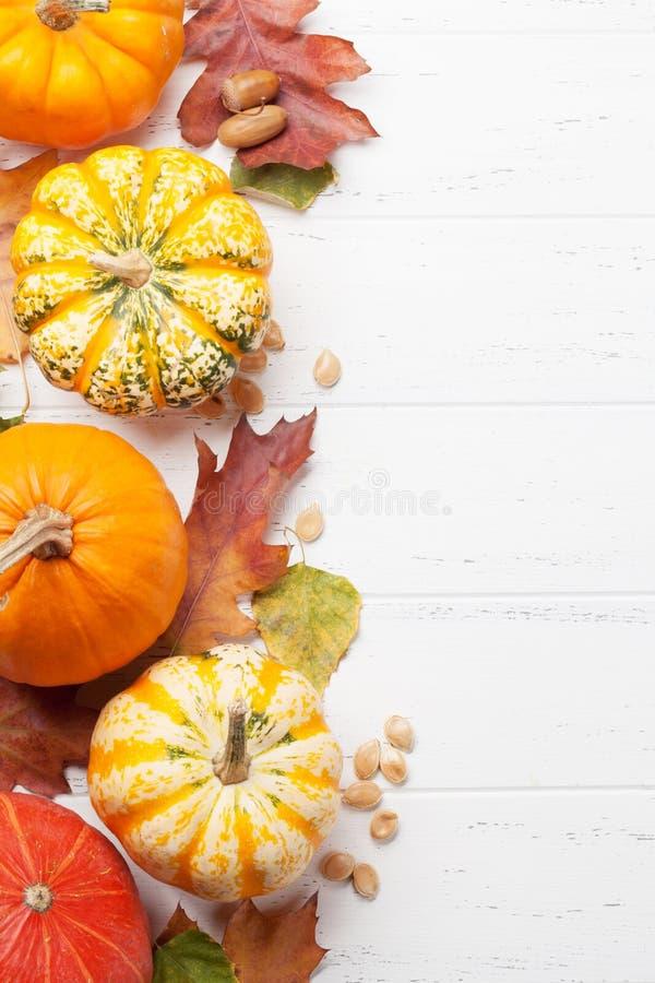 Herbsthintergrund mit K?rbisen und bunten Bl?ttern stockbild