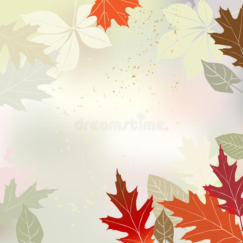 Herbsthintergrund mit mehrfarbigen Blättern lizenzfreie abbildung