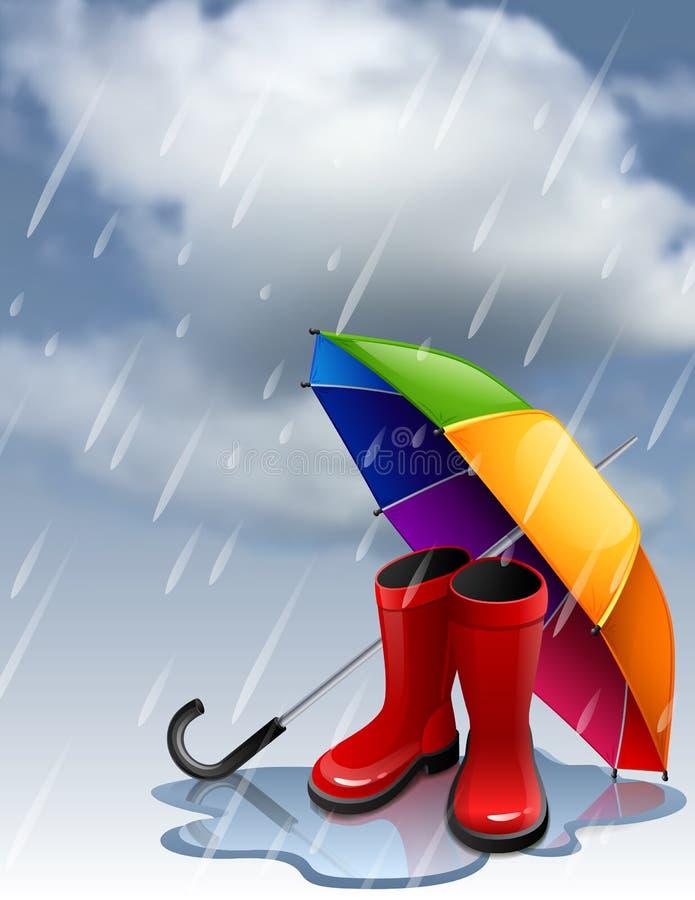 Herbsthintergrund mit Regenbogenregenschirm und roten gumboots stock abbildung