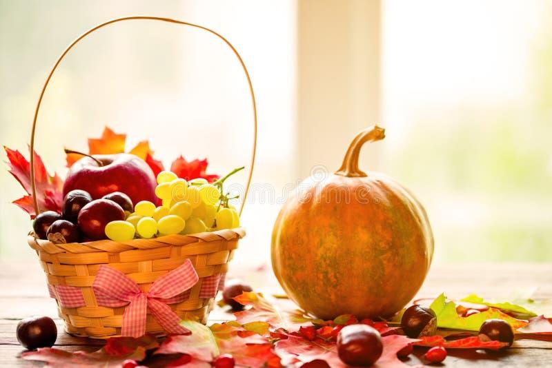 Herbsthintergrundkorb mit gelben Blättern, Trauben, roten Äpfeln und Kürbisen Feld Herbsternte auf den alten Brettern auf dem Fen stockfoto