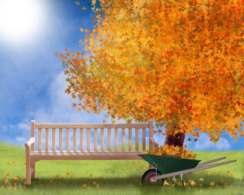 Herbstillustration oder Hintergrundfalllandschaft mit Gartensofabaum und -schubkarre lizenzfreie abbildung