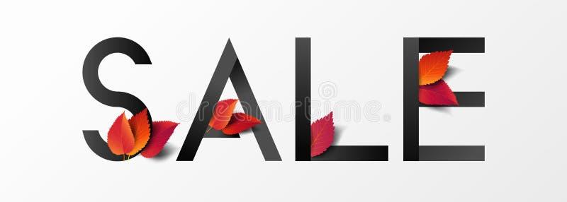 Herbstkalligrafie dekoriert mit herbfallenden Blättern im modernen Stil zum Einkaufen, Promo-Plakat und Marketing-Broschüre oder  stock abbildung