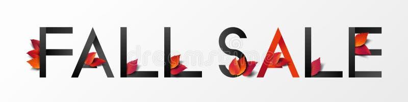Herbstkalligrafie dekoriert mit herbfallenden Blättern im modernen Stil zum Einkaufen, Promo-Plakat und Marketing-Broschüre oder  lizenzfreie abbildung