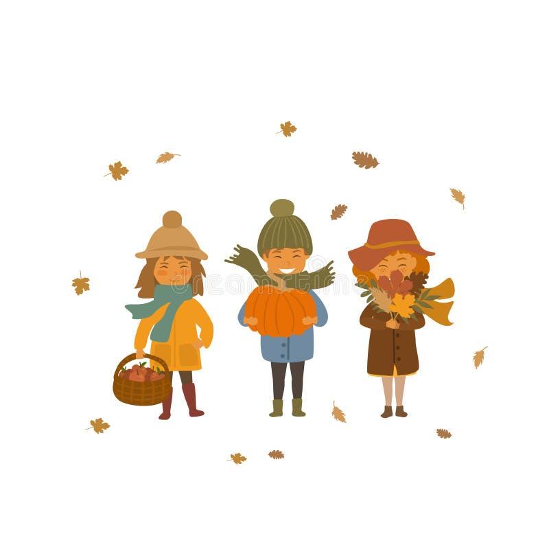 Herbstkinder Junge und Mädchen mit Apfelkörben, trockenen Fallblättern und Kürbis lokalisierten Vektorillustrationsszene lizenzfreie abbildung