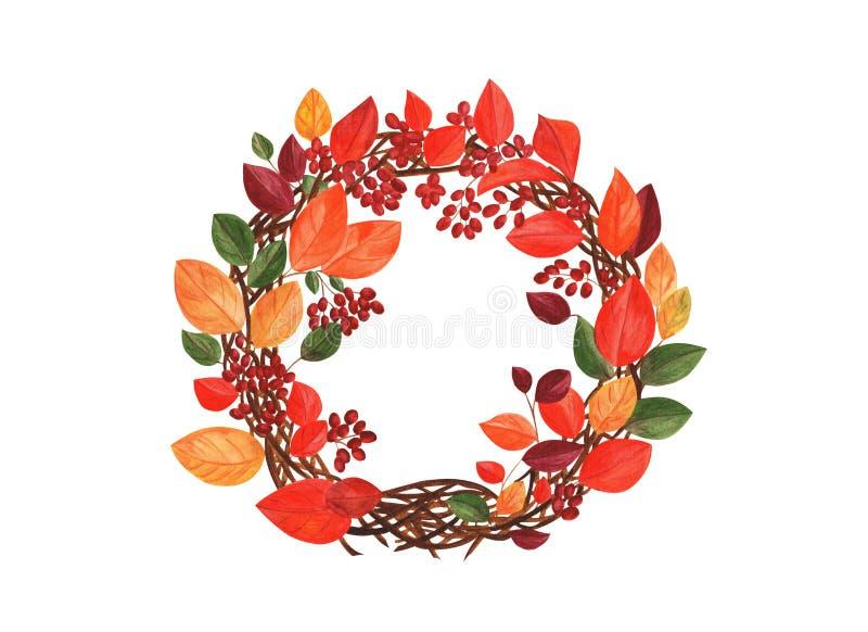 Herbstkranz von Blättern und von Beeren lizenzfreie abbildung