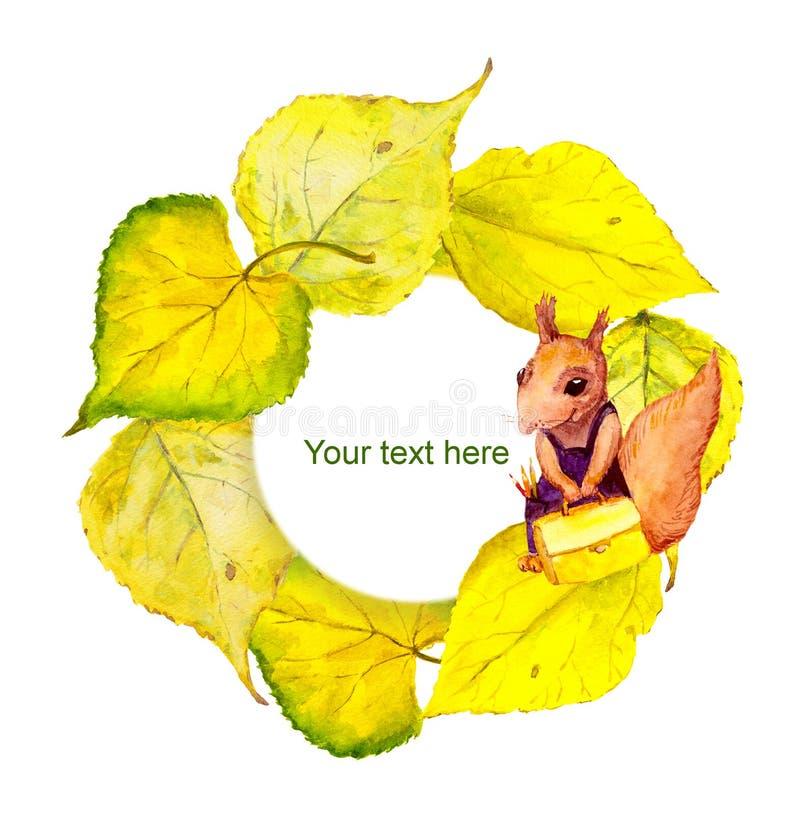 Herbstkranzrahmen mit Charakterschuleichhörnchen lizenzfreie abbildung