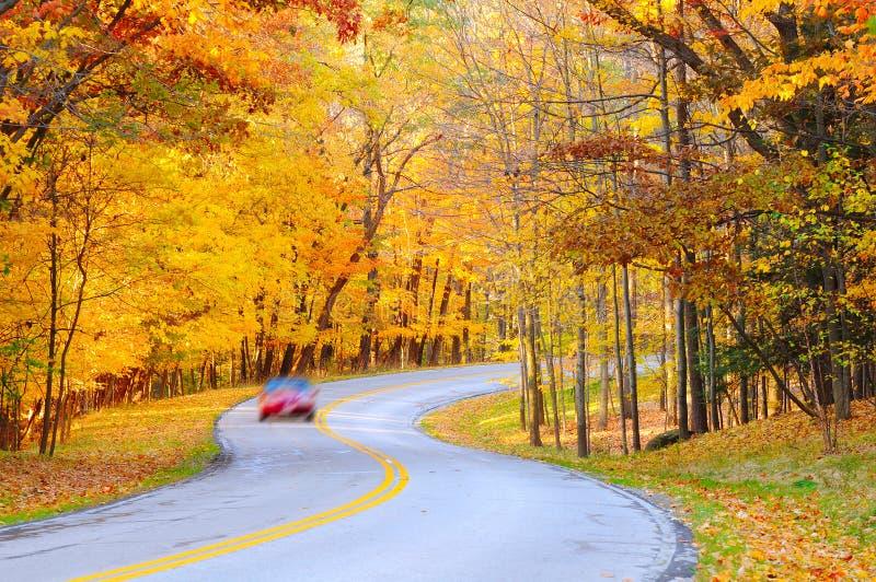 Herbstkurve mit Auto stockbild