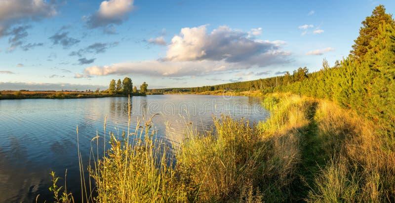 Herbstlandschaft auf dem Fluss Ural, das Irtysh, Russland stockfotografie