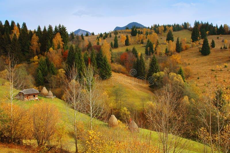 Herbstlandschaft in den Bergen von Rumänien lizenzfreie stockfotos