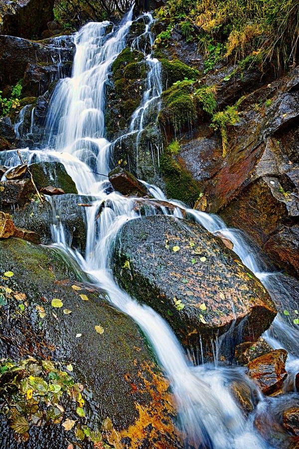 Herbstlandschaft des schönen Wasserfalls in den ukrainischen Karpaten lizenzfreie stockfotos