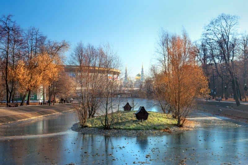 Herbstlandschaft mit Teich im Stadtpark lizenzfreie stockfotografie
