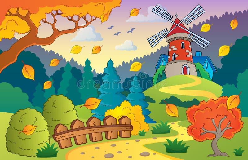 Herbstlandschaft mit Windmühle 1 vektor abbildung