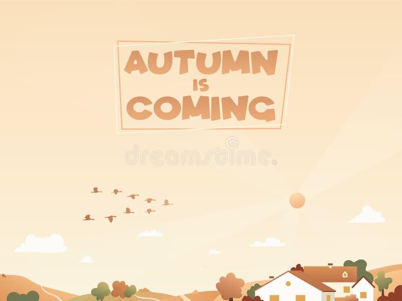 Herbstlandschaft mit Zugvögeln und Häusern auf den Hügeln Hintergrund mit wandernden Enten stock abbildung
